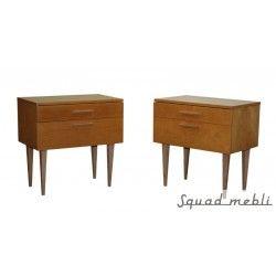 Szafki nocne   Zestaw dwóch stolików nocnych z lat 60-tych. Ponownie polakierowane. Produkcja niemiecka. #bedside #cabinet #table #design #furniture #polish #design