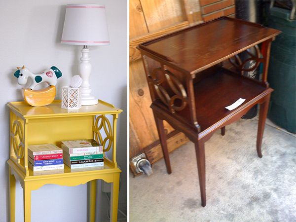 A pink & yellow safari: side table refurbish