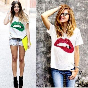 Moda Para Mujer Mujeres Lentejuelas Decoración Del O-cuello De Manga Corta Del Remiendo Camiseta Ocasional
