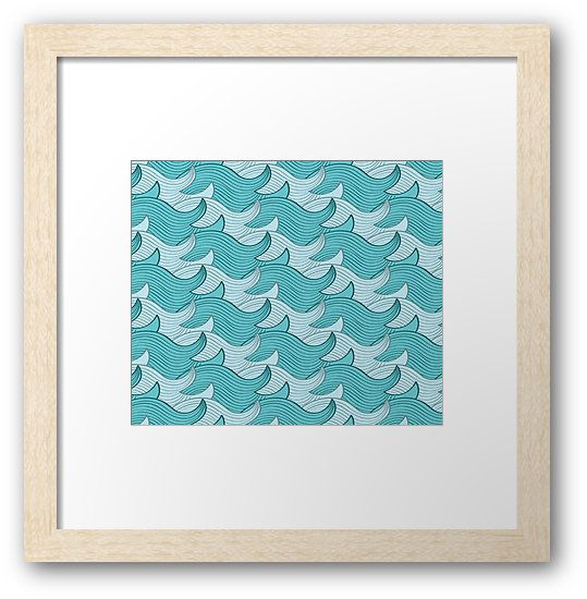 California Surf Wave Pattern Illustration by Gordon White | California Surf Natural Framed Print Available in Small @redbubble --------------------------- #redbubble #stickers #california #losangeles #la #surf #wave #cute #adorable #pattern #frame #print #framedprint #wallart