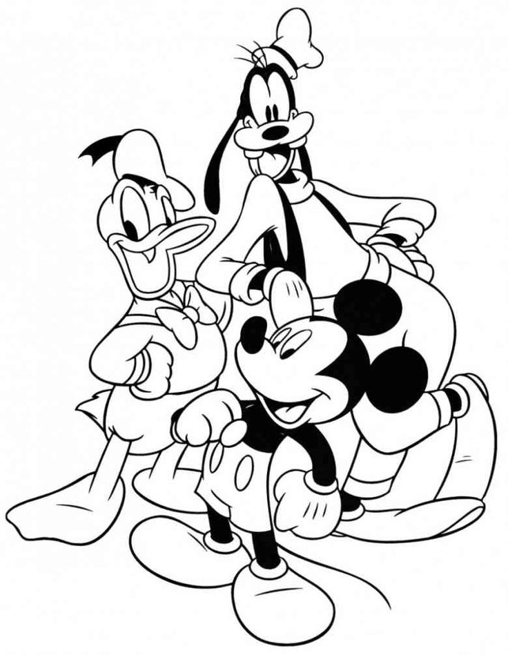 Mickey, Goofy And Donald   Free Disney Halloween Coloring Pages