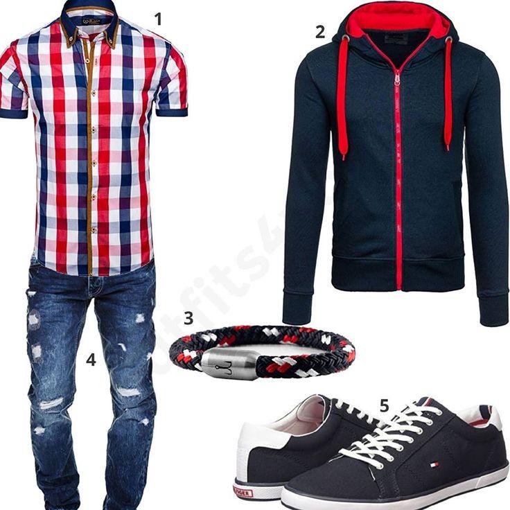 Cooles Herren-Outfit mit blau-rot-kariertem Kurzarmhemd und Hoodie von Bolf, Merish destroyed Jeans, Fischer's Fritze Armband und Tommy Hilfiger Schuhen.