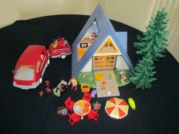 Vintage Playmobil Vacation House 3230 and van with trailer 3213 LOADS OF EXTRAS