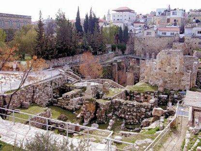 The Bethesda Pool, where Jesus heals the paralytic man in the Gospel of John, is a complex site. It appears to have been a mikveh, or ritual bath. As the spot of one of Jesus' miracles, the Bethesda Pool was built over in subsequent periods with chapels and churches that are still visible today