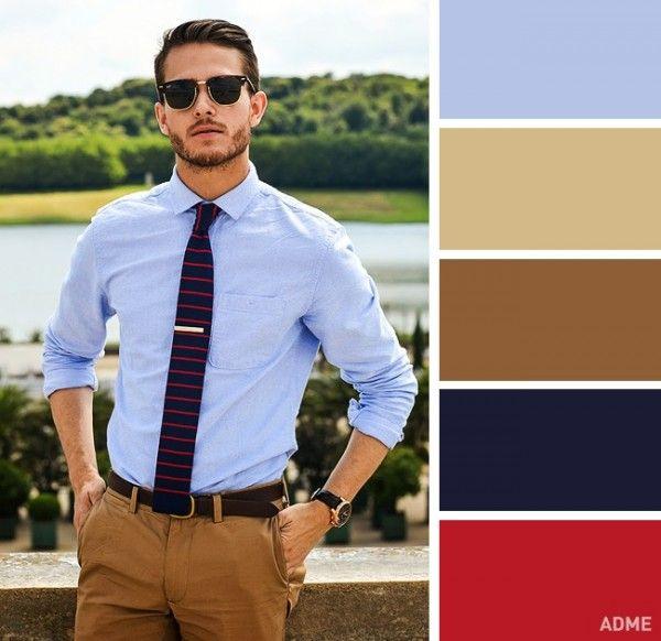 3. Azul claro y color mostaza es una combinación para vestir de manera formal pero sin necesidad de usar un traje, además se ve más actual.