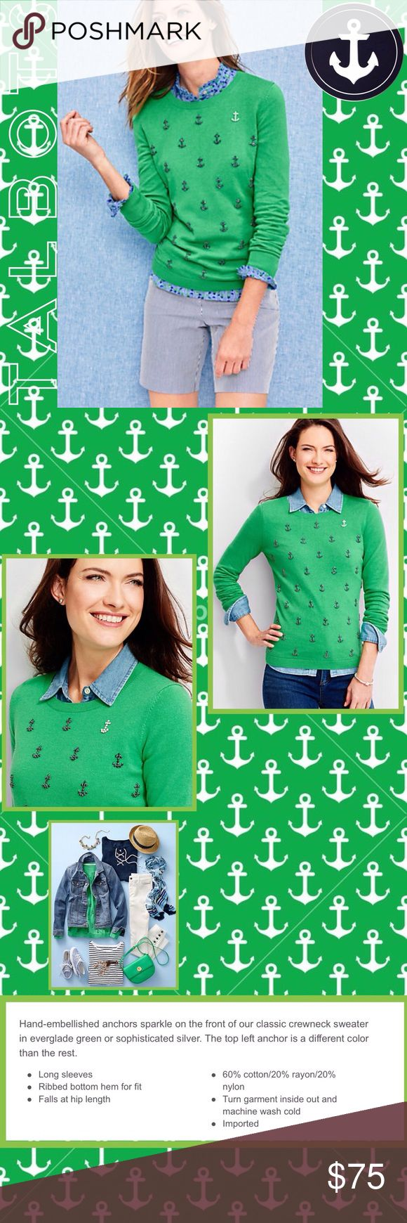 🆕Talbots Rhinestone Anchors Sweater Spring/Summer Sweater in Kelly Green with Black Rhinestone Anchors. Talbots Sweaters Crew & Scoop Necks