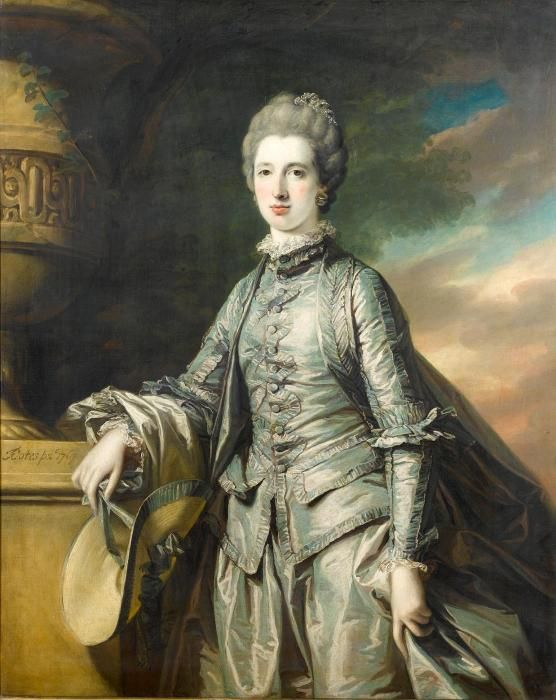 Frances Cotes  Portrait of Elizabeth Burdett (d.1807), daughter of Sir Robert Burdett (1716-1797), 4th Baronet Burdett of Bramcott, Warwickshire, standing three-quarter-length, in a blue dress, holding a bonnet in her right hand, which is resting on a stone plinth with a sculpted urn signed and dated 'FCotes pxt.1767.' (on plinth, centre left) oil on canvas