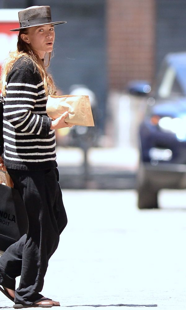 Mary-Kate Olsen Stripes It Up In Soho With A Black And White Look