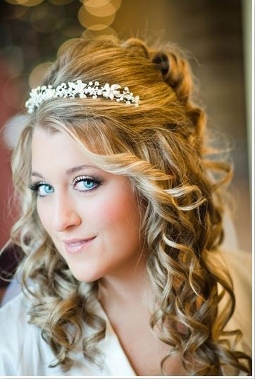 long hair with tiara bridalguide
