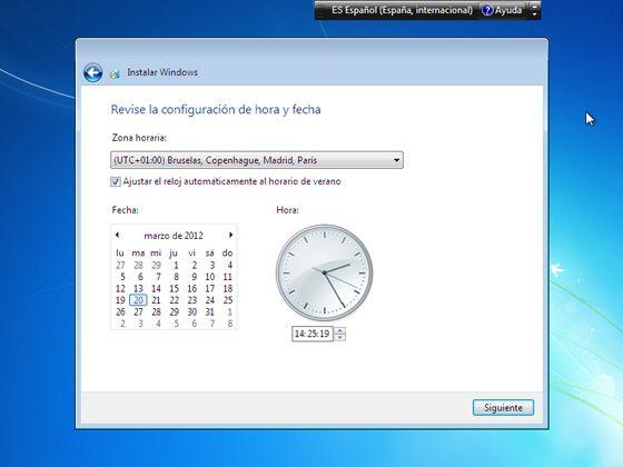 Instalar Windows 7: Establece la fecha y la hora