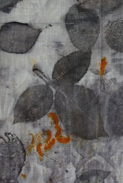 pure linen printed with rose leaves and lily stamens, by Monica Lamacka (red2white)