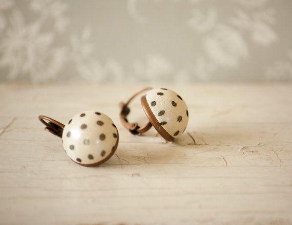Polka Dots Chiffon Earrings Leverback by BeautyfromashesUSA
