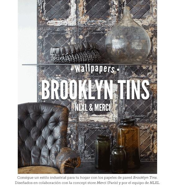Papel de pared pintado Brooklyn Tins Wallpaper Non Woven de Merci - NLXL. #merci #papeldepared #wallpaper #nlxl #brooklynTins #papelpared