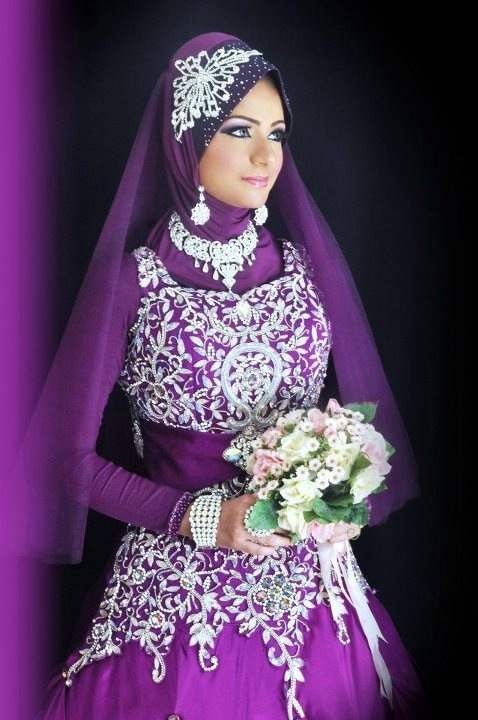 Purple and silver bridal hijab pinterest beautiful for Silver and purple wedding dresses