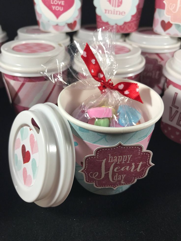 Valentines day party favor treat cups, mini coffee cup k cup office gift, class party