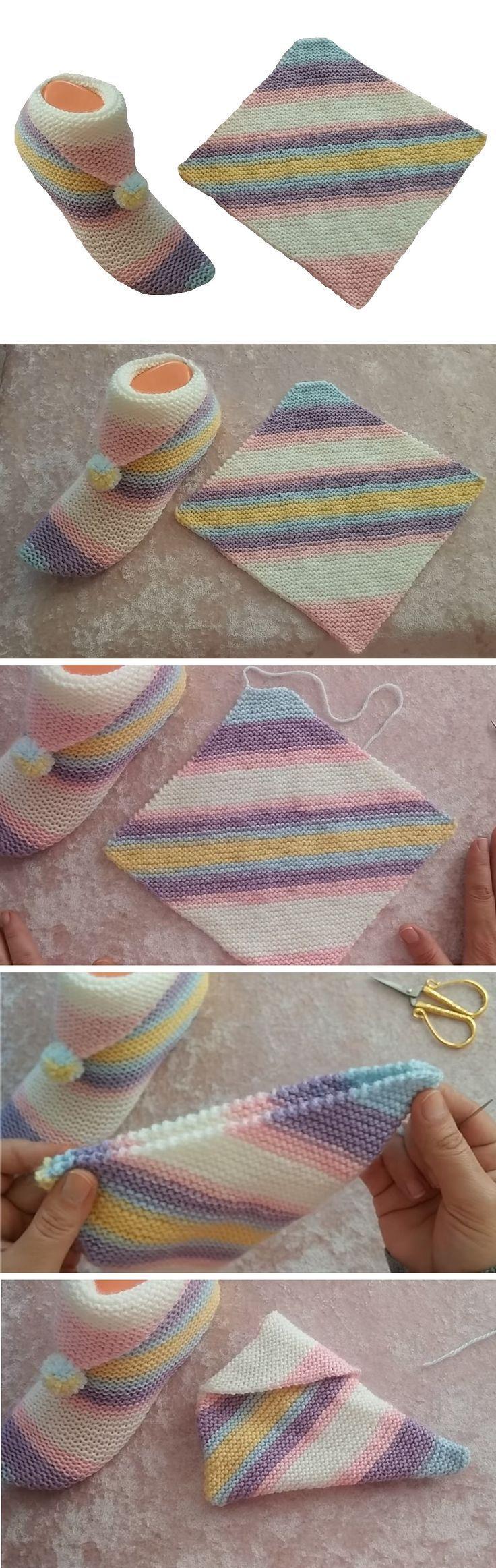 Einfache Schritt für Schritt Hausschuhe Tutorial   – Knitting Project Ideas