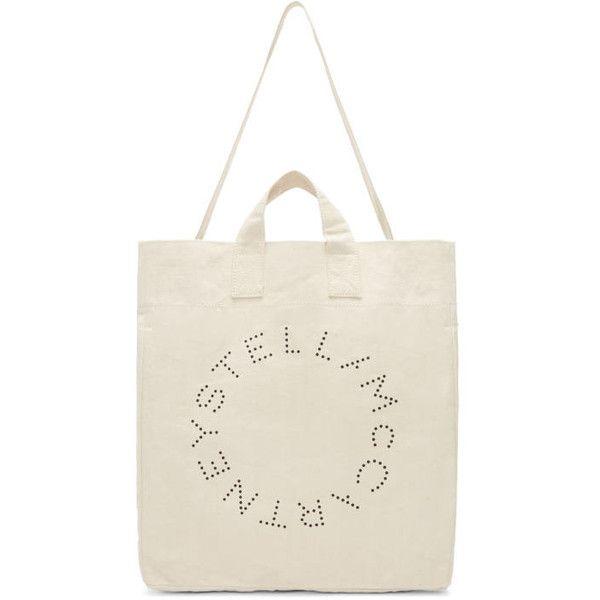 Stella McCartney Ecru Round Logo Beach Tote (1 805 SEK) ❤ liked on Polyvore featuring bags, handbags, tote bags, ecac ecru, ecru, white tote handbags, white tote bag, beach bag, beach tote and stella mccartney purse