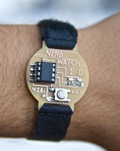 The Nerd Watch displays the time in binary when the button is pushed. The watch shows the hour and minutes by flashing two LEDs in sequence to represent two 4-bit binary numbers (in big-endian format).
