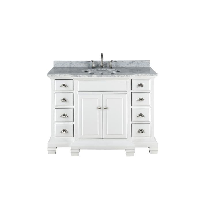 Image Of Shop allen roth Vanover White Undermount Single Sink Bathroom Vanity with Natural Marble Top