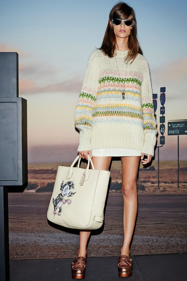 Coach   Spring 2015 Ready-to-Wear   10 Multicolour striped long sleeve sweater and white mini skirt