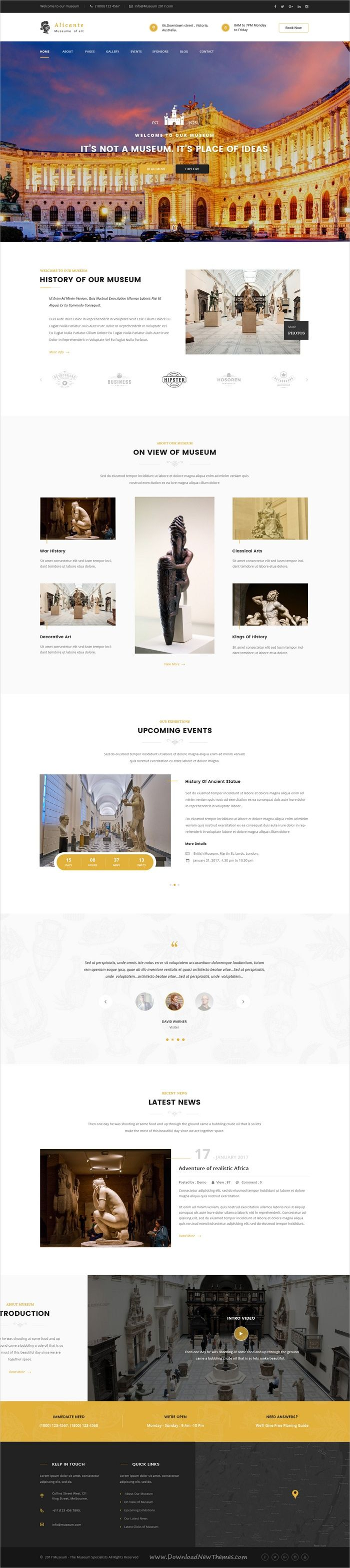 Alicante is beautifully design #Photoshop template for stunning #museum or #art gallery website with 4 homepage layouts and 17 organized PSD pages download now➩ https://themeforest.net/item/alicante-museum-psd-template/19427490?ref=Datasata