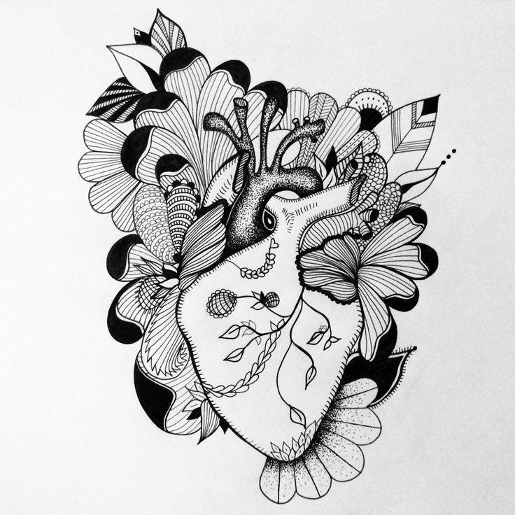 coeur tatoo noir et blanc