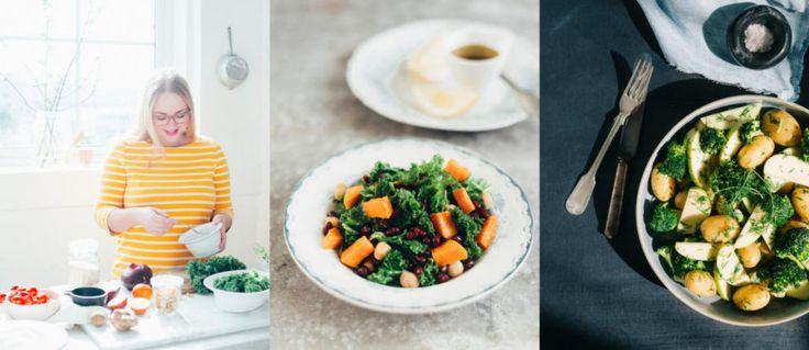 3 vegetarretter: BROKKOLI- OG POTETSALAT MED SENNEPSDRESSING  SALAT MED GRØNNKÅL, SØTPOTET, KIKERTER OG GRANATEPLE  RÅKOSTSALAT MED QUINOA  Fra Julies Matblogg (via Dagbladet)