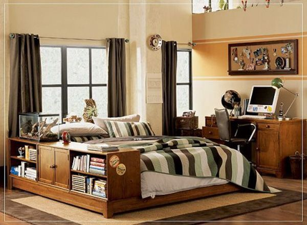 Brown bed lamp room young man teen design shelf curtain window