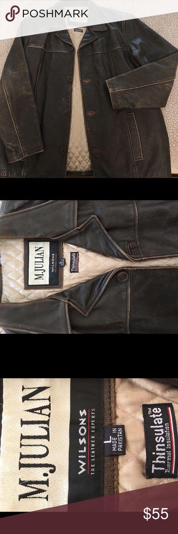 Men's leather jacket, color antique brown Men's leather jacket, antique brown, vintage brown, size Large, Wilson, motorcycle leather jacket Wilson Jackets & Coats Bomber & Varsity