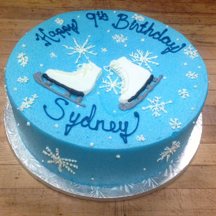 Ice Skates and snowflakes, a match made by Mother Nature and hand-drawn in buttercream on this 9th birthday cake!! Call 732-530-3337 for your next party cake!