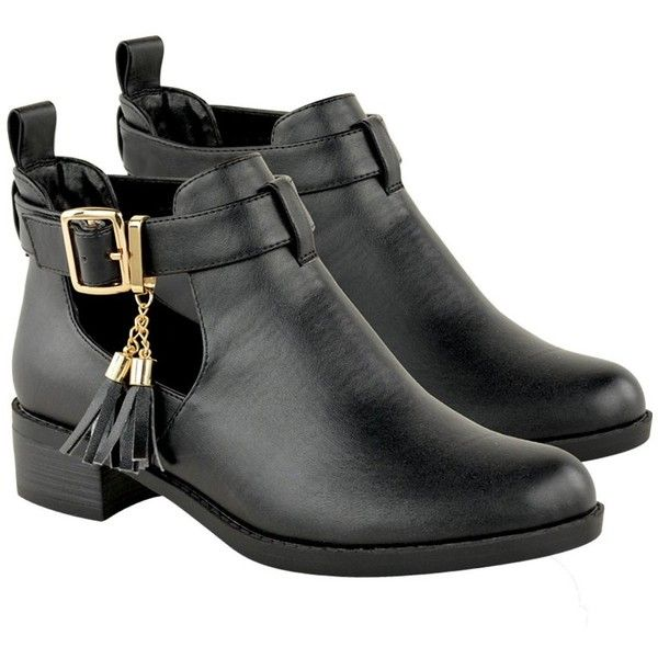 Womens Black Faux Leather Chelsea Cut Out Ankle Boots Gold Buckle... ❤ liked on Polyvore featuring shoes, boots, ankle booties, cutout ankle boots, low heel black booties, short boots, cutout booties and black bootie boots