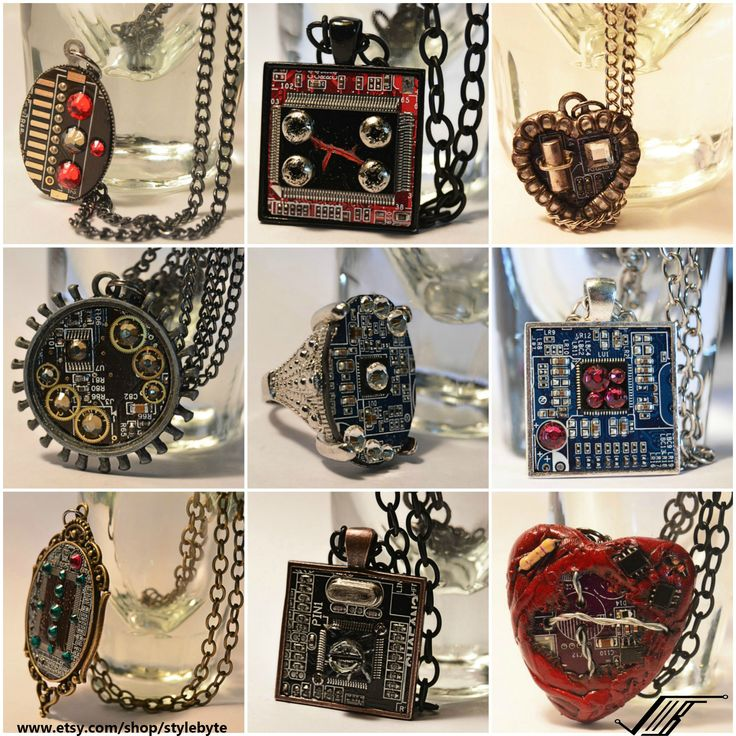 I took some broken computer parts and made jewelries Pt 2. - Imgur