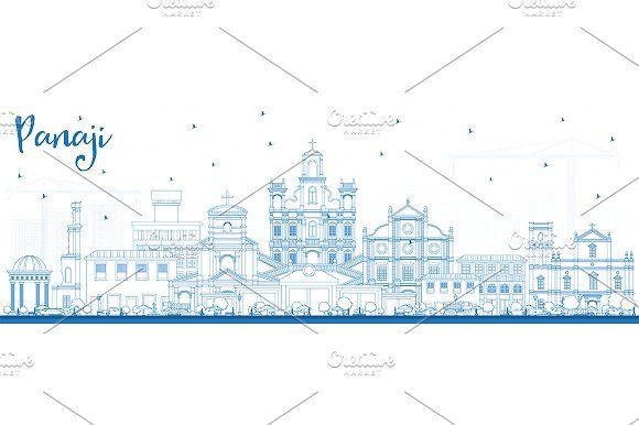 #Outline #Panaji #India #City #Skyline by Igor Sorokin on @creativemarket