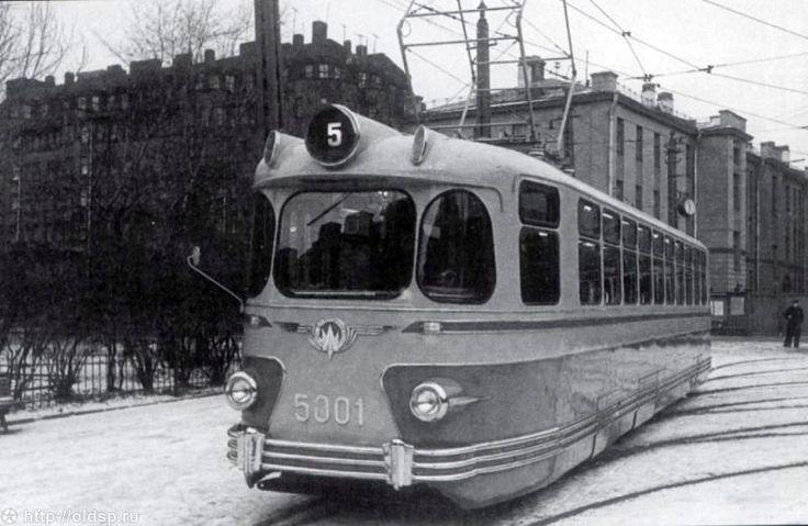 A tramcar in Leningrad, ca. 1957.