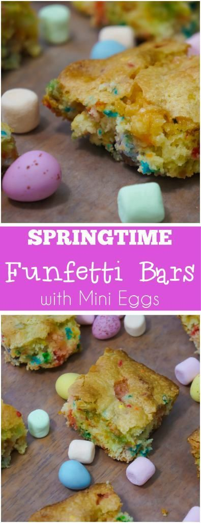 Springtime Funfetti Bars with Mini Eggs are any easy cake mix cookie bar recipe perfect for Easter. These delicious cookie bars are made with confetti cake mix and loaded with colourful mini marshmallows and mini eggs.