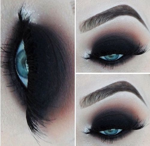Dark + gothic makeup inspiration Black smokey blended eye | Blue eyes