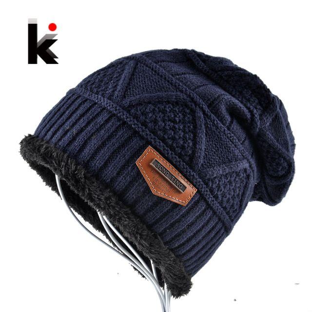Best Price $5.99, Buy Men's Skullies Hat Bonnet Winter Beanie Knitted Wool Hat Plus Velvet Cap Thicker Mask Fringe Beanies Hats for men