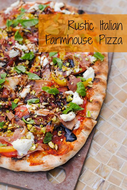 Rustic Italian Farmhouse Pizza - a complete meal on a pizza. Includes prosciutto, ricotta, roasted yellow peppers, basil, pistachios and balsamic vinegar.