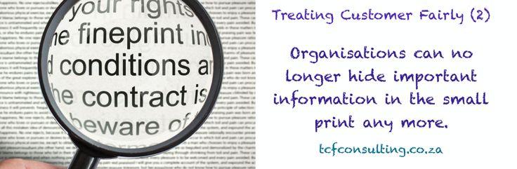 Treating Customer Fairly (3) disclosure