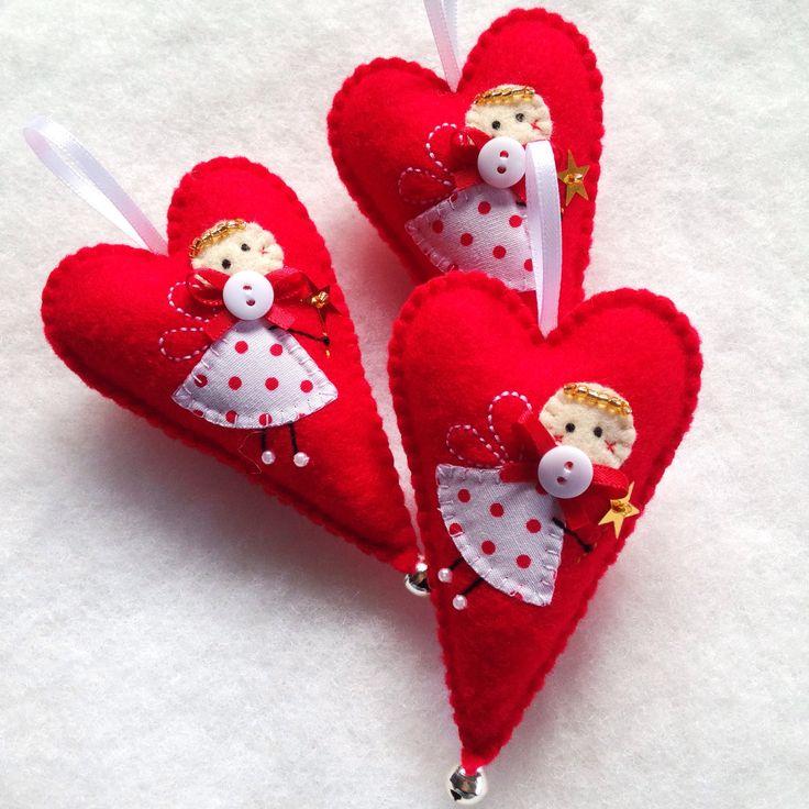 Hand stitched Christmas Fairy Felt Heart ornament