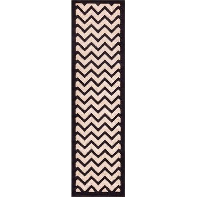 Well Woven Dulcet Cream/Black Chevron Area Rug Rug Size: Runner 2' x 7'3""