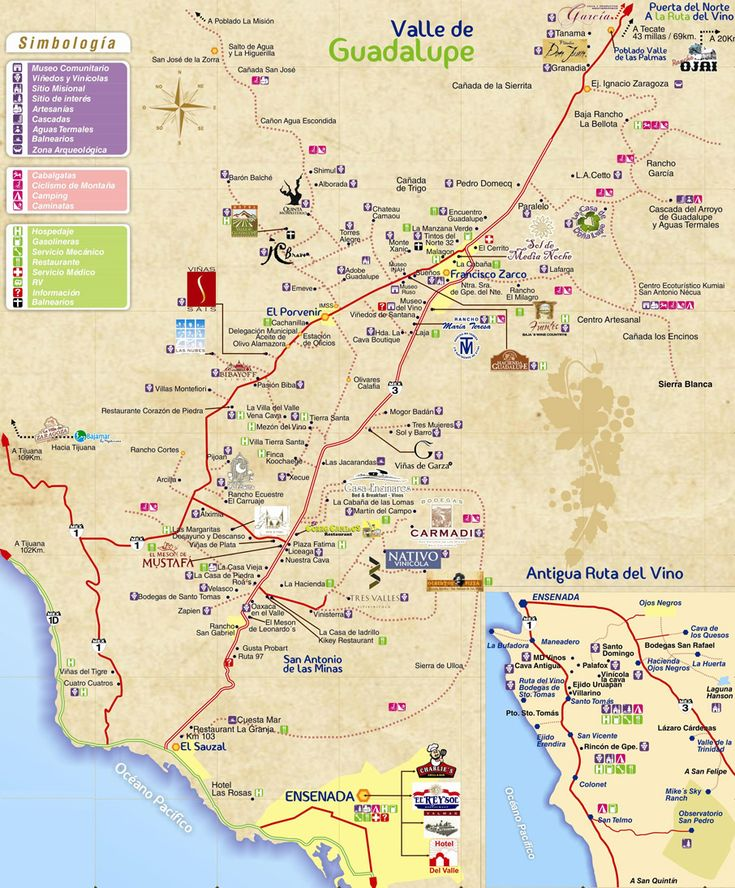 Mapa de la ruta del vino de baja california baja