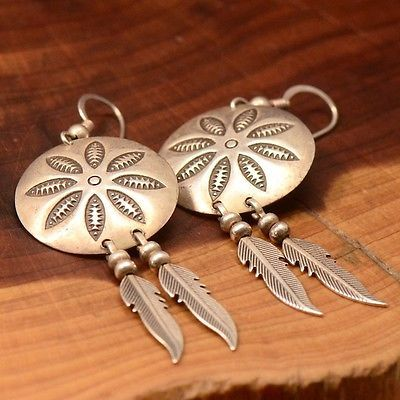Vintage Sterling Silver - NAVAJO Etched Feathers 6.5g - Dangle Earrings