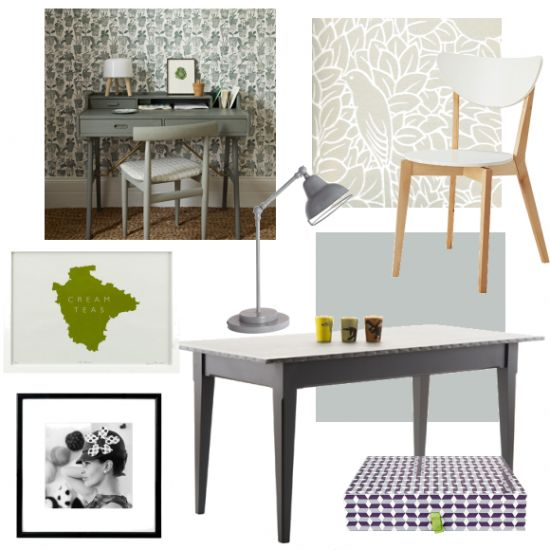Mix botanical-themed wallpaper with a soft grey painted furniture for a sophisticated look.