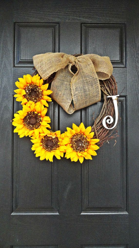 Summer and Fall Sunflower Wreath With White Monogram Lovely Burlap Bow