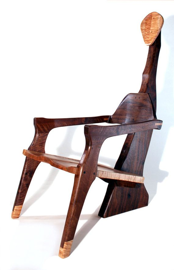 Sculptural walnut chair by AaronSmithWoodworker on Etsy