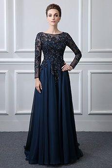 A-Line/Princess Bateau Floor-length Chiffon Mother of the Bride Dress