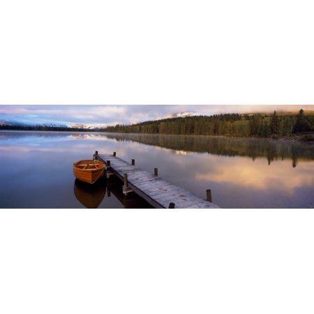 Boat moored at a pier Hector Lake Mt John Laurie Rocky Mountains Kananaskis Country Calgary Alberta Canada Canvas Art - Panoramic Images (36 x 12)