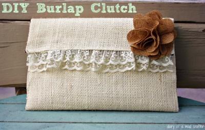 burlap clutch