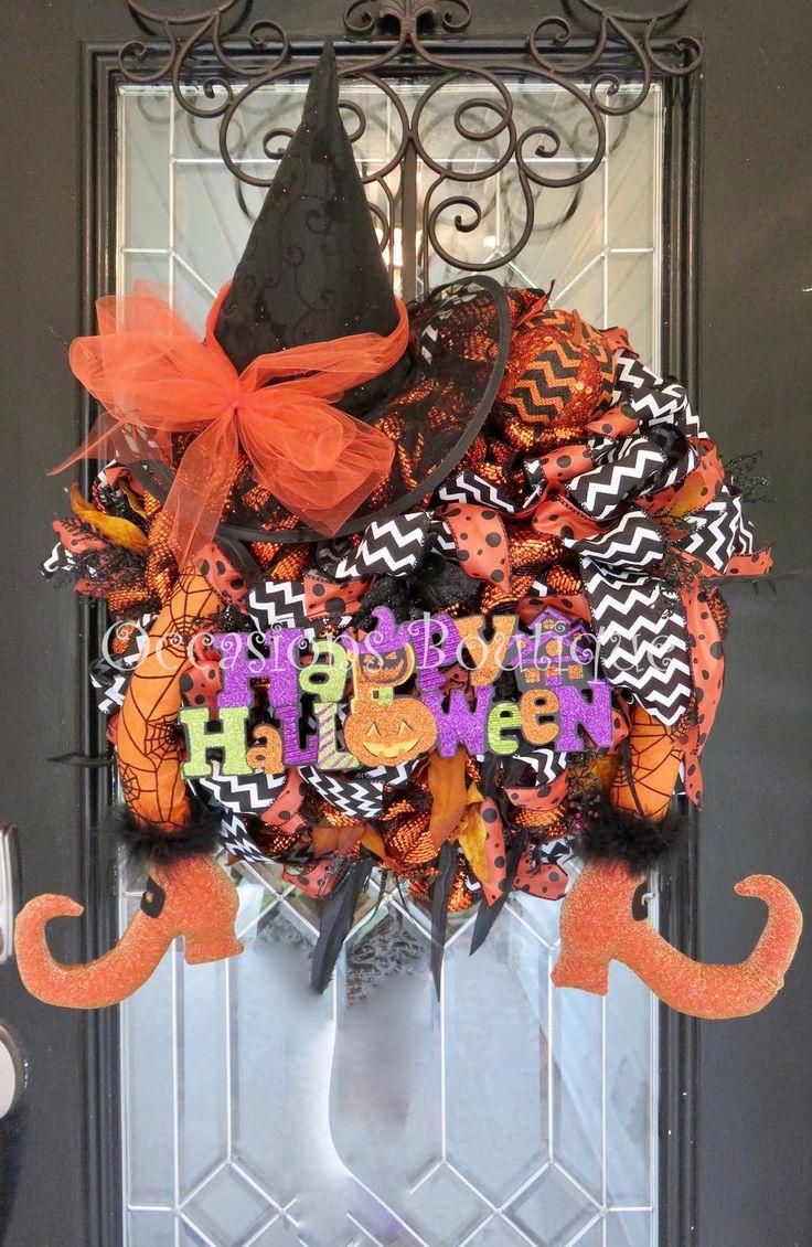 Halloween Wreath, Fall Wreath, Witch Wreath, Deco Mesh, Door Hanger, Wreath for door, Front door wreath, Halloween Party decor by OccasionsBoutique on Etsy